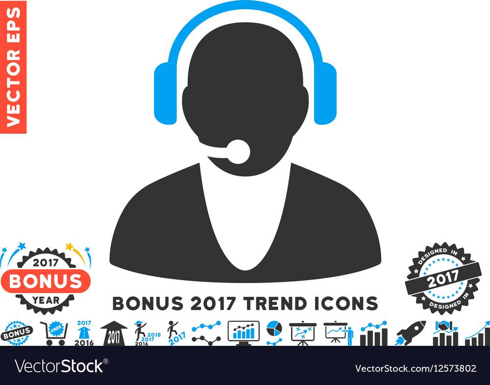 Operator Flat Icon With 2017 Bonus Trend