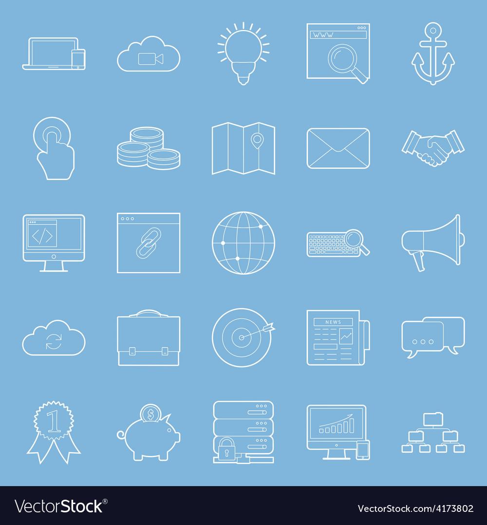 Seo and e-marketing thin lines icon set
