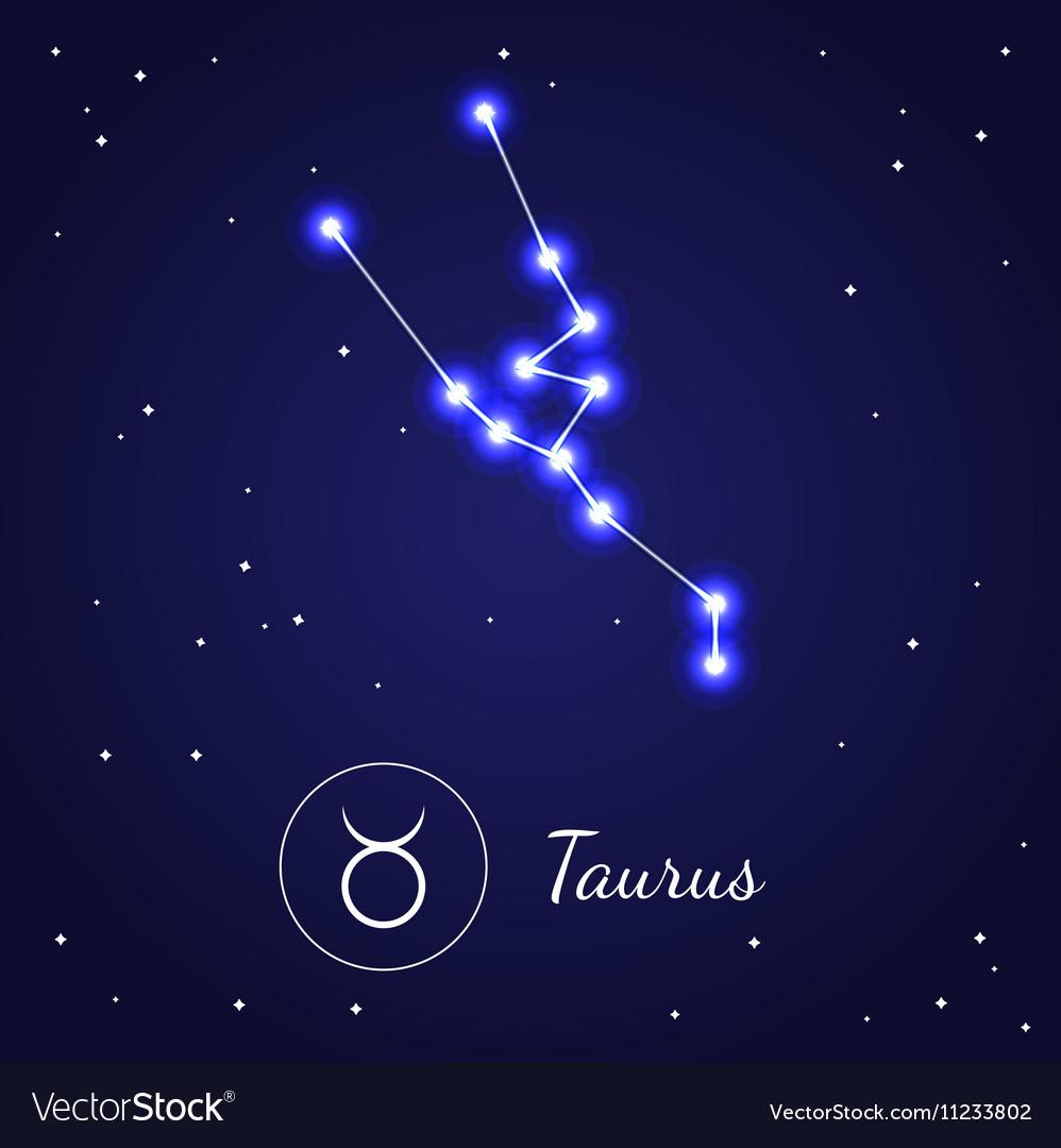 Taurus Zodiac Sign Stars on the Cosmic Sky Vector Image