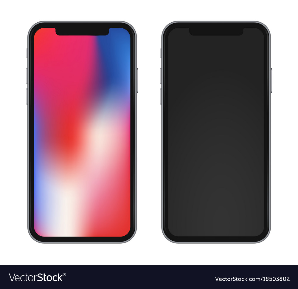 Template phone with beautiful rainbow wallpaper vector image