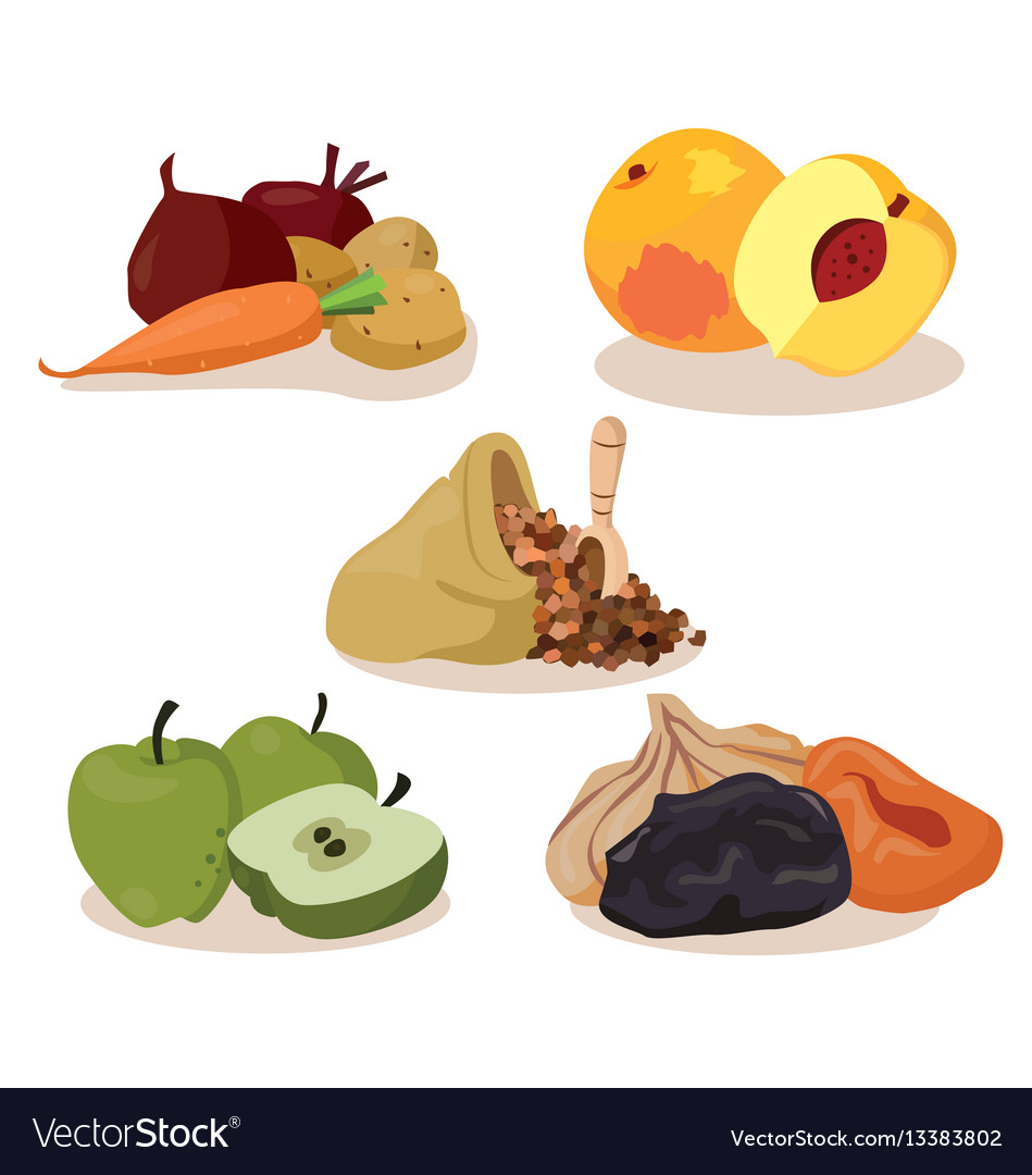 Vegetables peaches cereal apples dried fruit vector image
