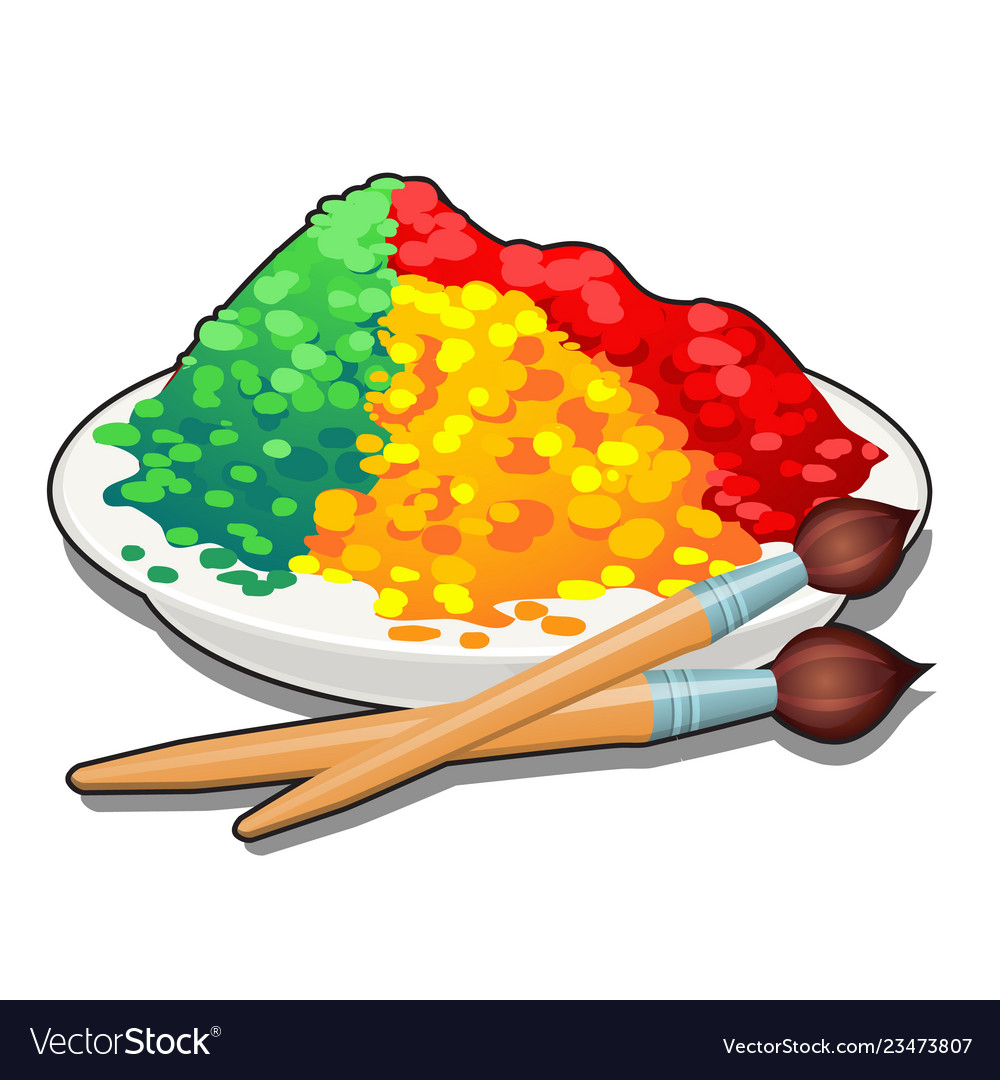 A set of colored food dyes in a plate and two