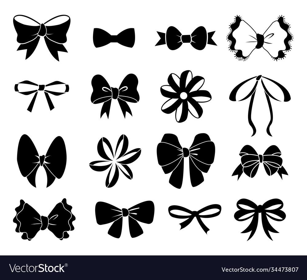 Black bow flat ribbons for birthday greeting