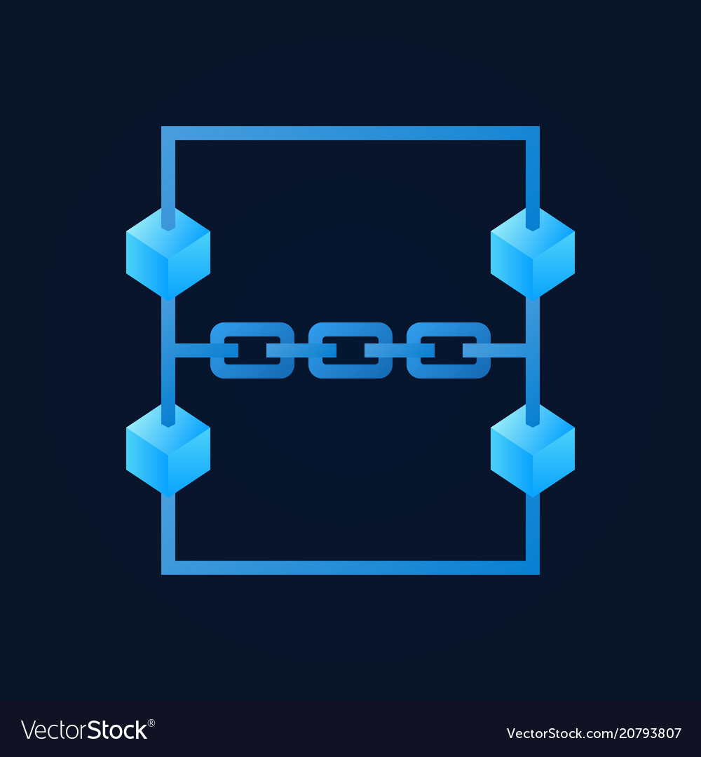 Blue blockchain modern icon on dark