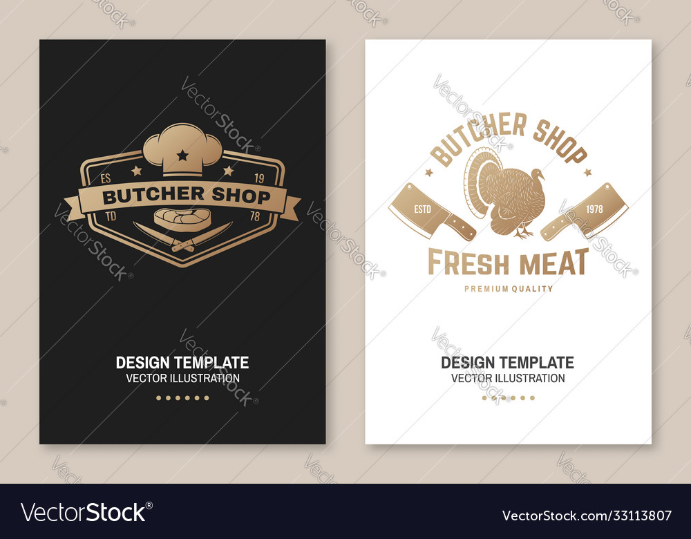 Butcher meat shop badge or label with turkey and