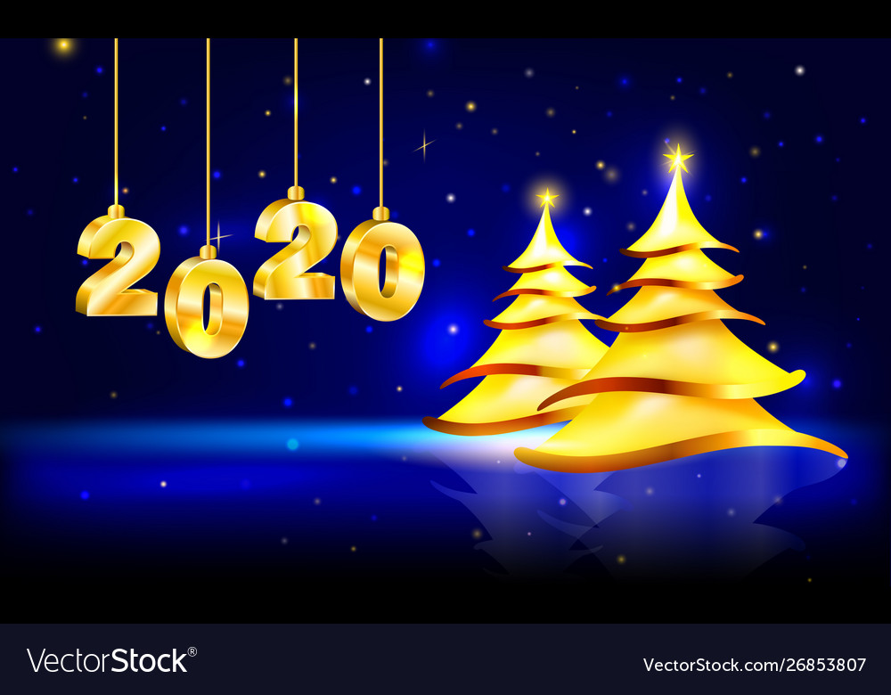 Christmas card with golden figures 2020 Royalty Free Vector