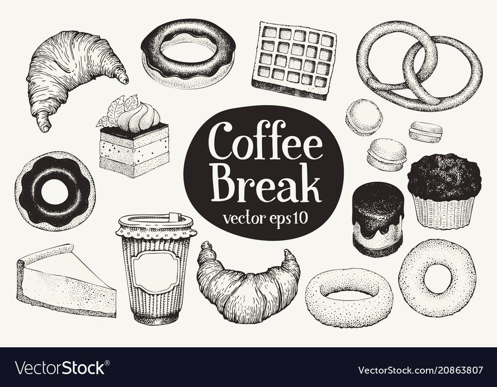 Coffee break dessert set hand drawn