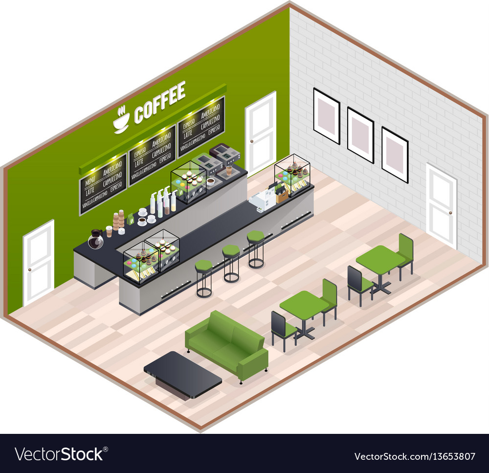 Coffee house isometric interior