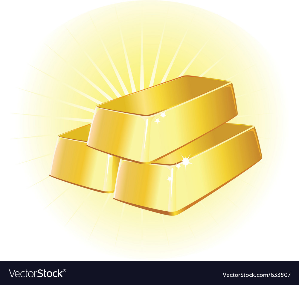 Gold ingots vector image