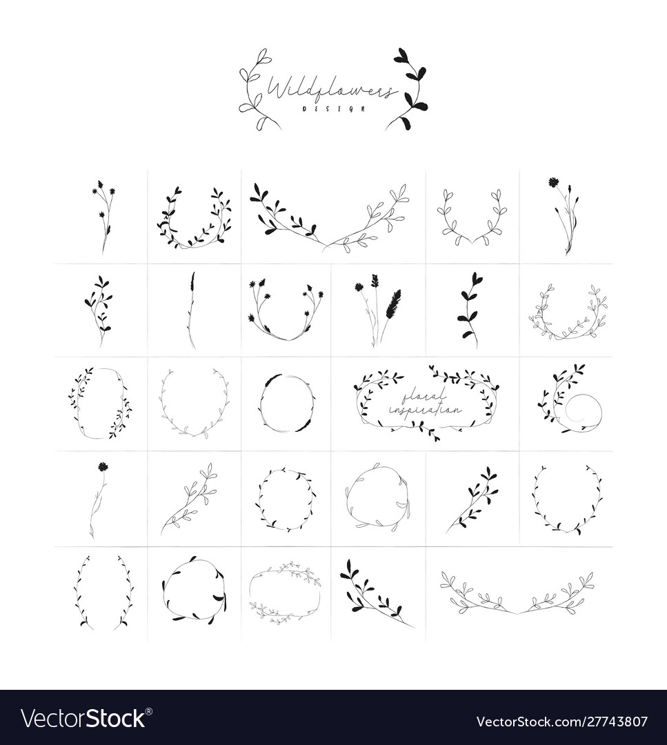 Hand drawn floral frames wreaths branches
