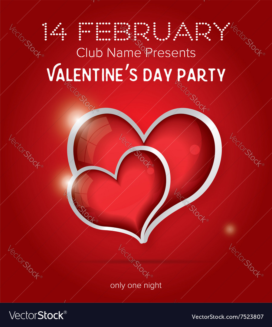 Happy Valentines Day Party Flyer Design Template