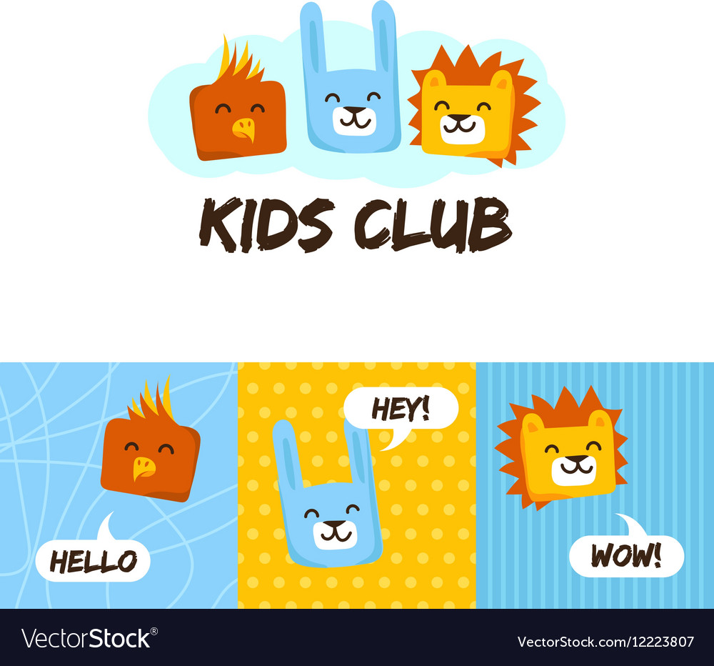 Kids club logo with animals Cute kindergarten and