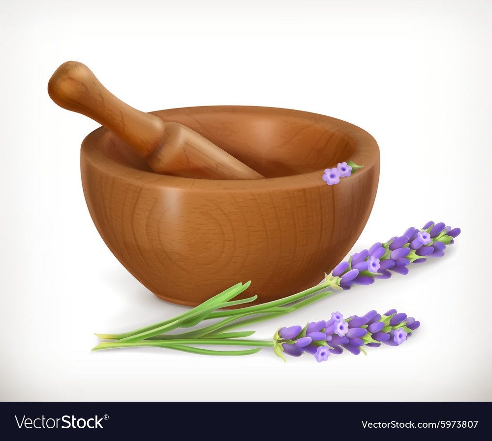 Lavender and wooden mortar