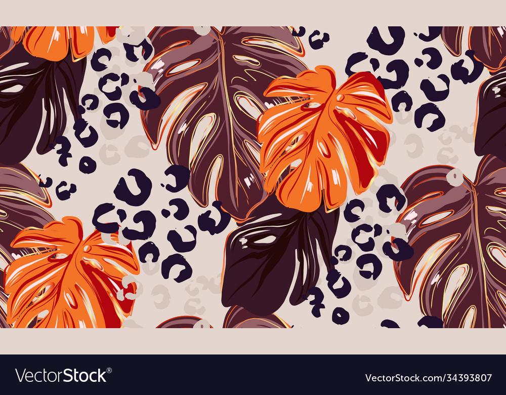 Leopard monstera leaf seamless pattern background