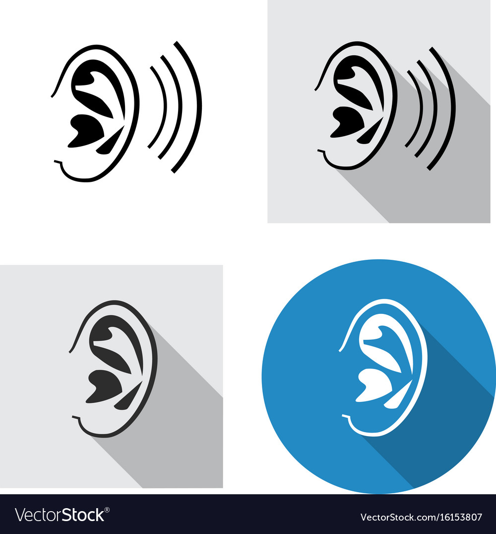 Set of ear icon side view in linear style vector image