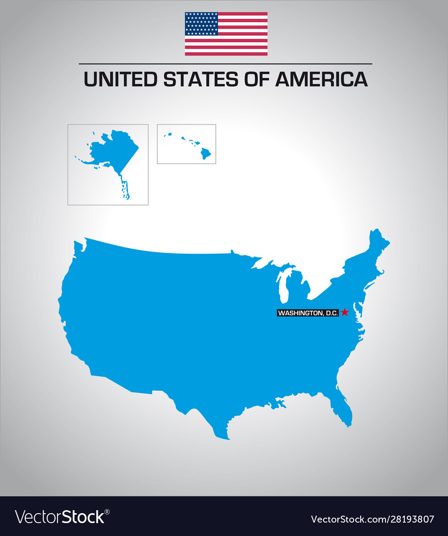 Simple United States Outline Map.Simple Outline Map United States America Vector Image