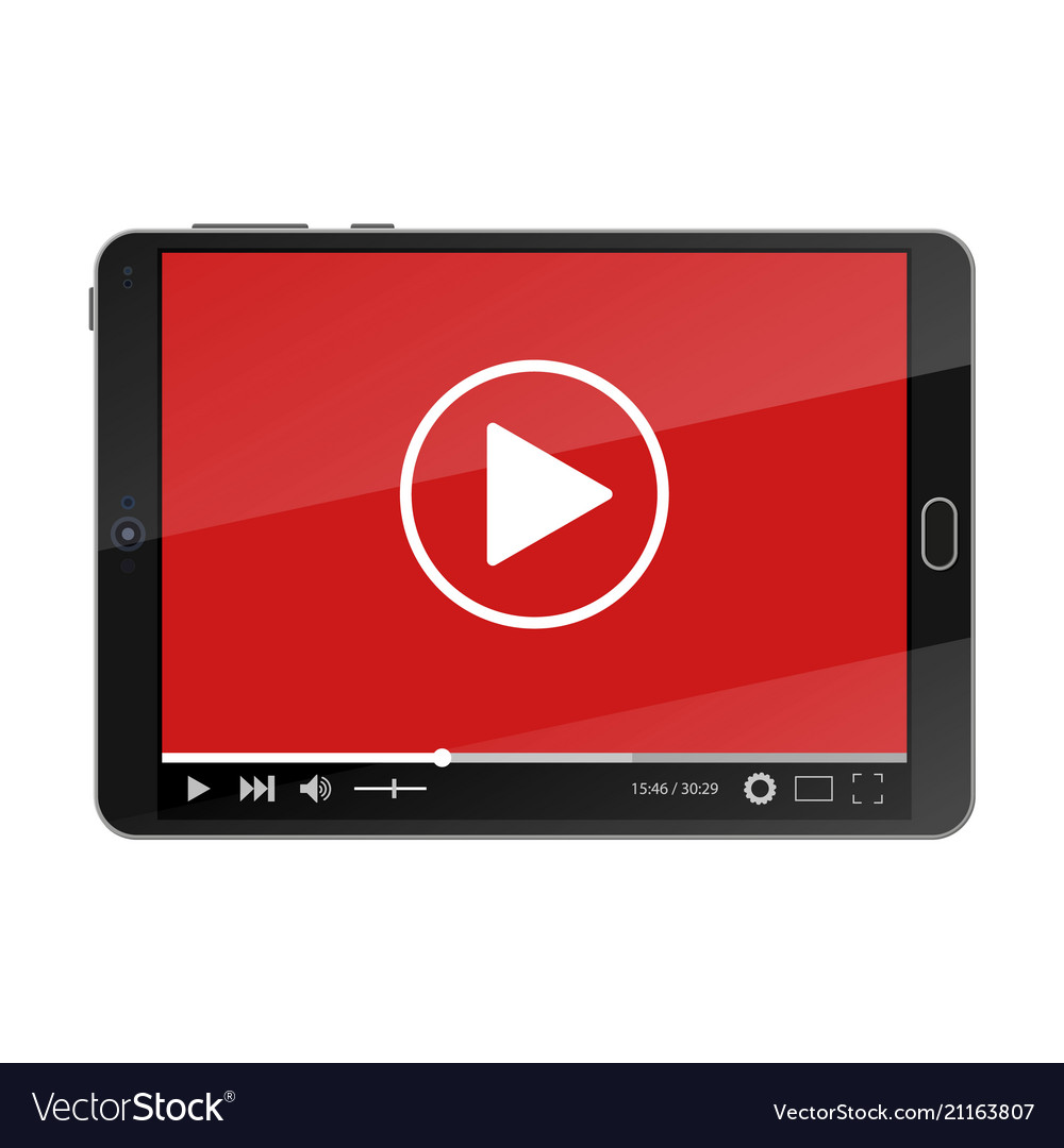 Tablet pc with video player on screen