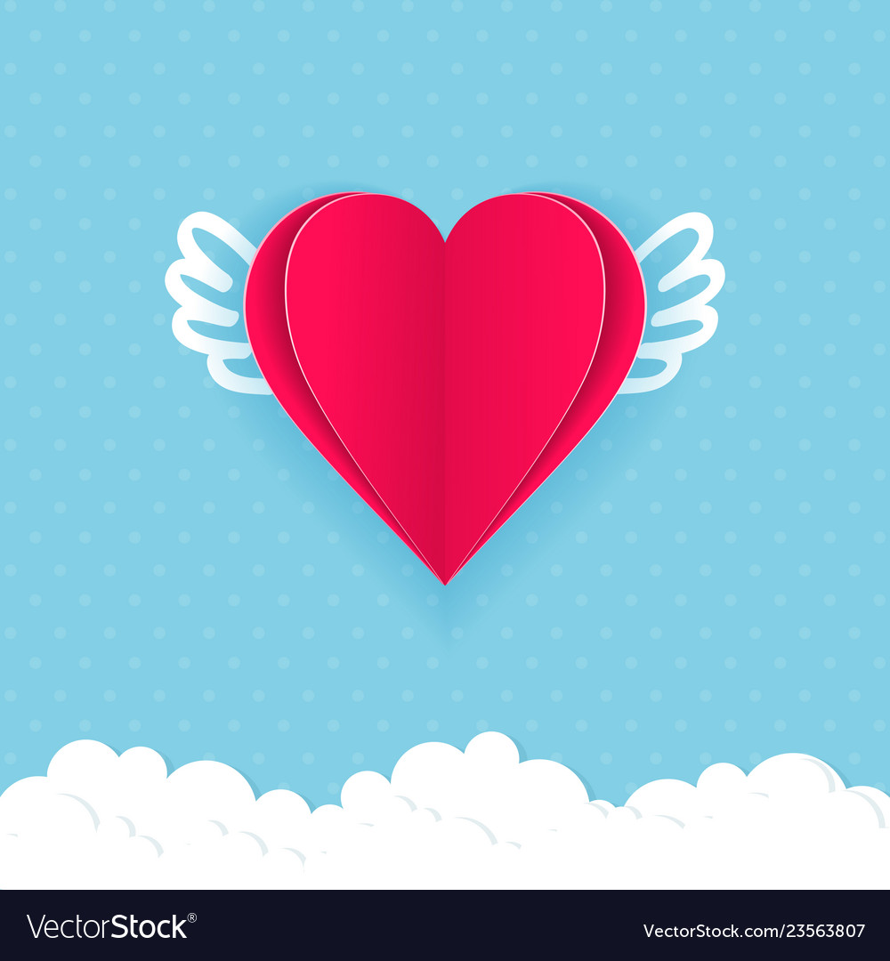 The valentine day card with hearts of paper