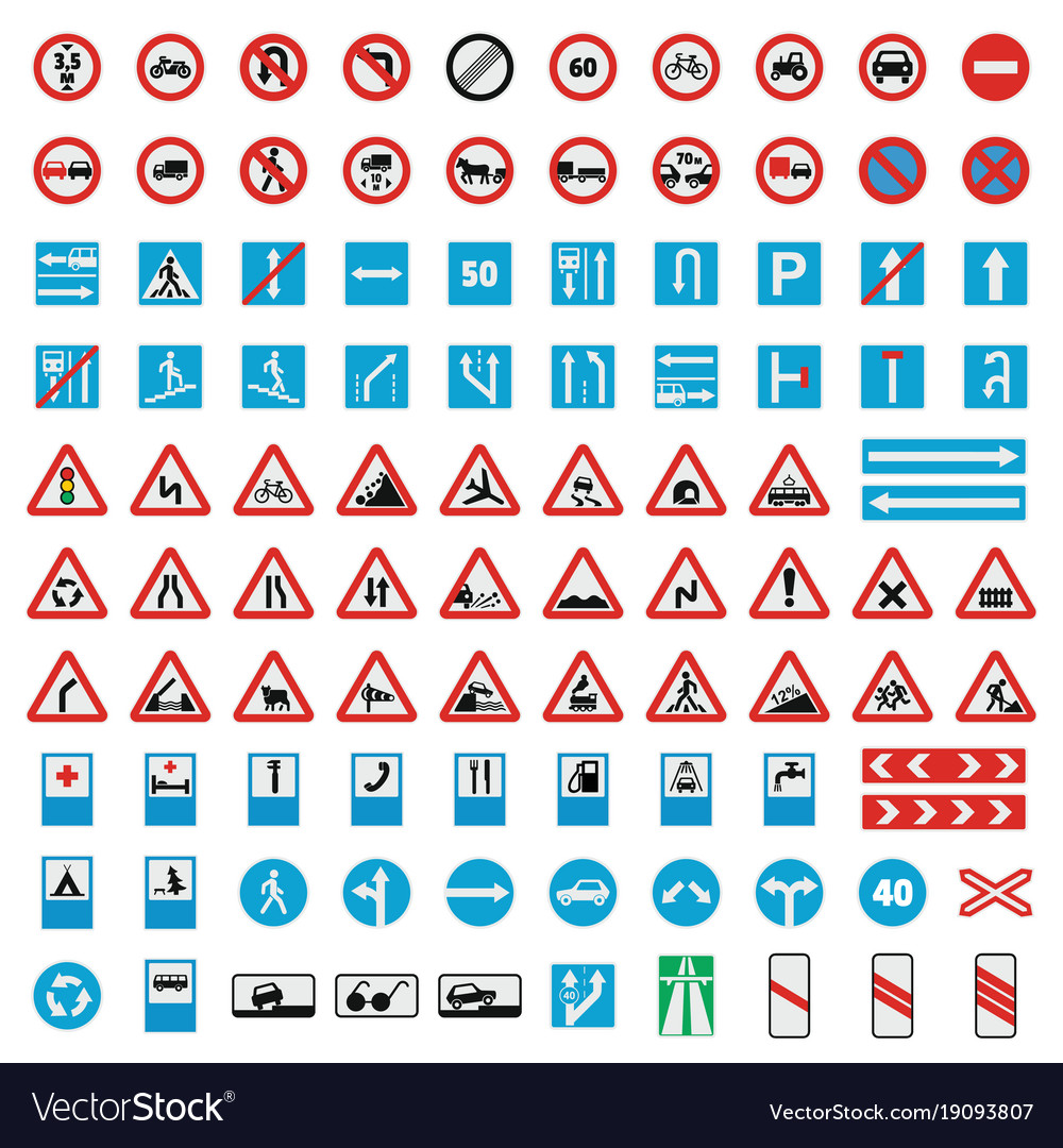 Traffic road sign collection icons set flat style