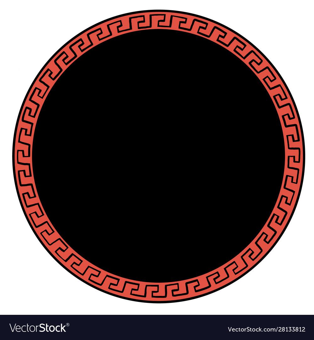 Ancient greek ornament round background