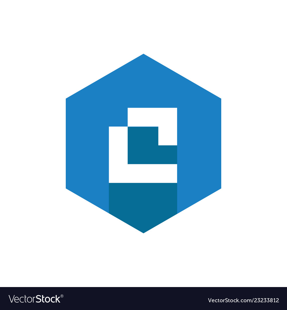 C letter logo icon combined with blue hexagon