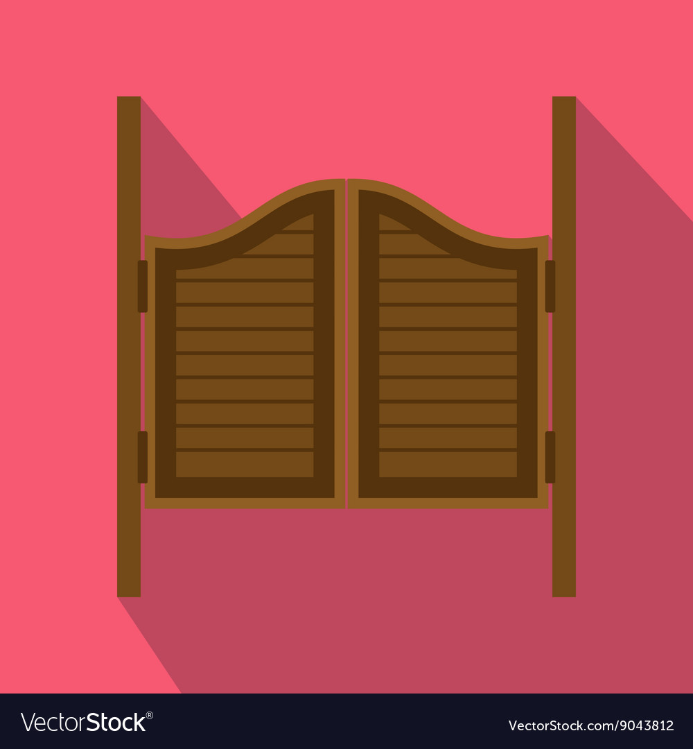Doors in western saloon icon flat style vector image & Doors in western saloon icon flat style Royalty Free Vector