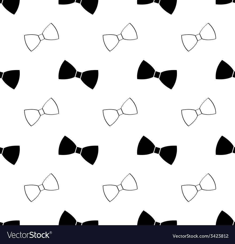 Seamless black and white bow tie pattern vector image ccuart