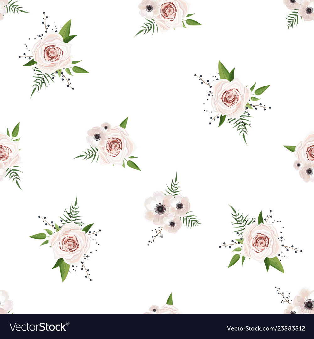 Seamless pattern floral watercolor design