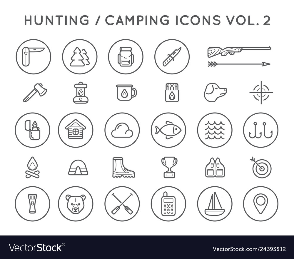 Set of hunting camping sport elements can be used