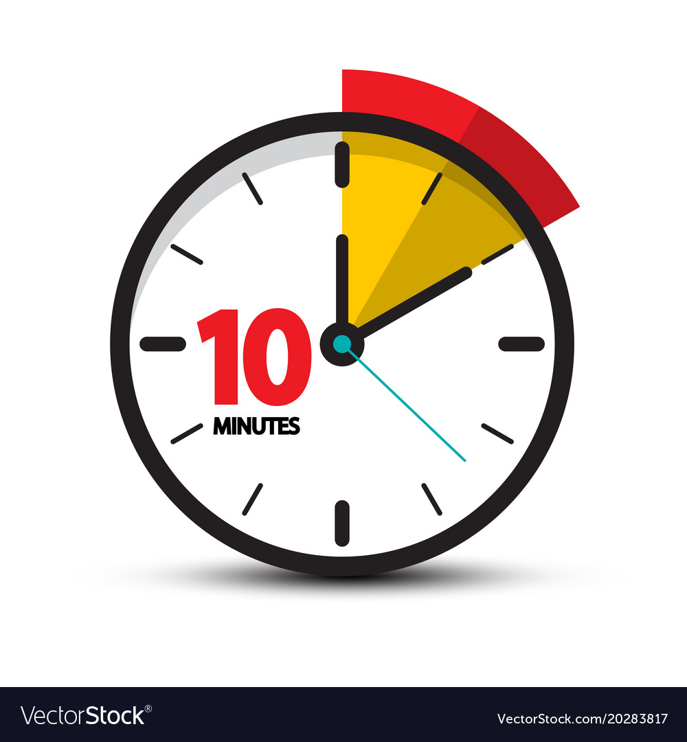 10 minutes clock face ten minute icon vector image