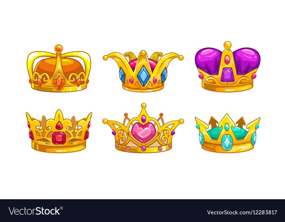 Cartoon Royal Crown Icons Set Royalty Free Vector Image Yellow crown logo, crown, cartoon queen crown, cartoon character, cartoons, crowns png. vectorstock