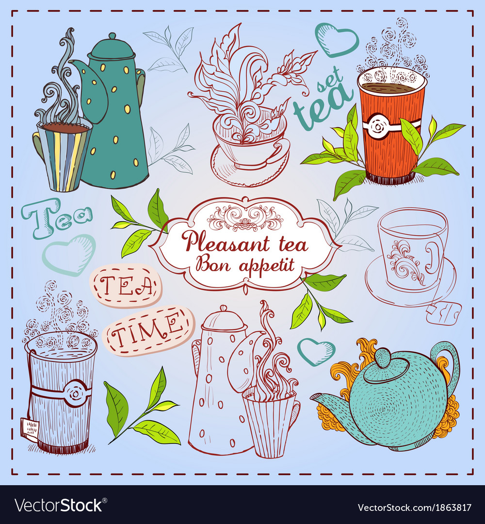 Cute hand drawn teapots cups and cupcakes