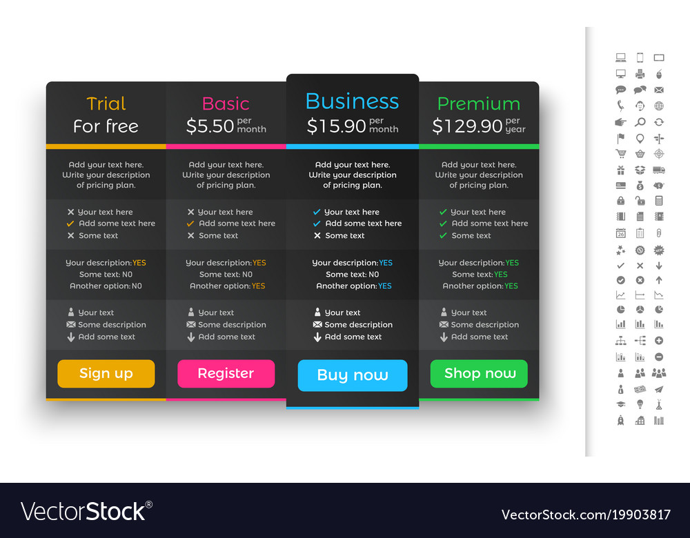 Dark pricing table with 4 plans and one
