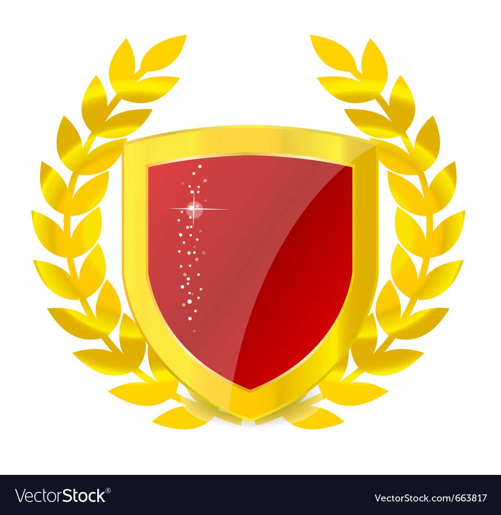Gold emblem of colorful shield vector image