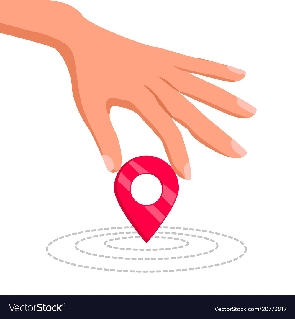 Hand holding a geo location pin