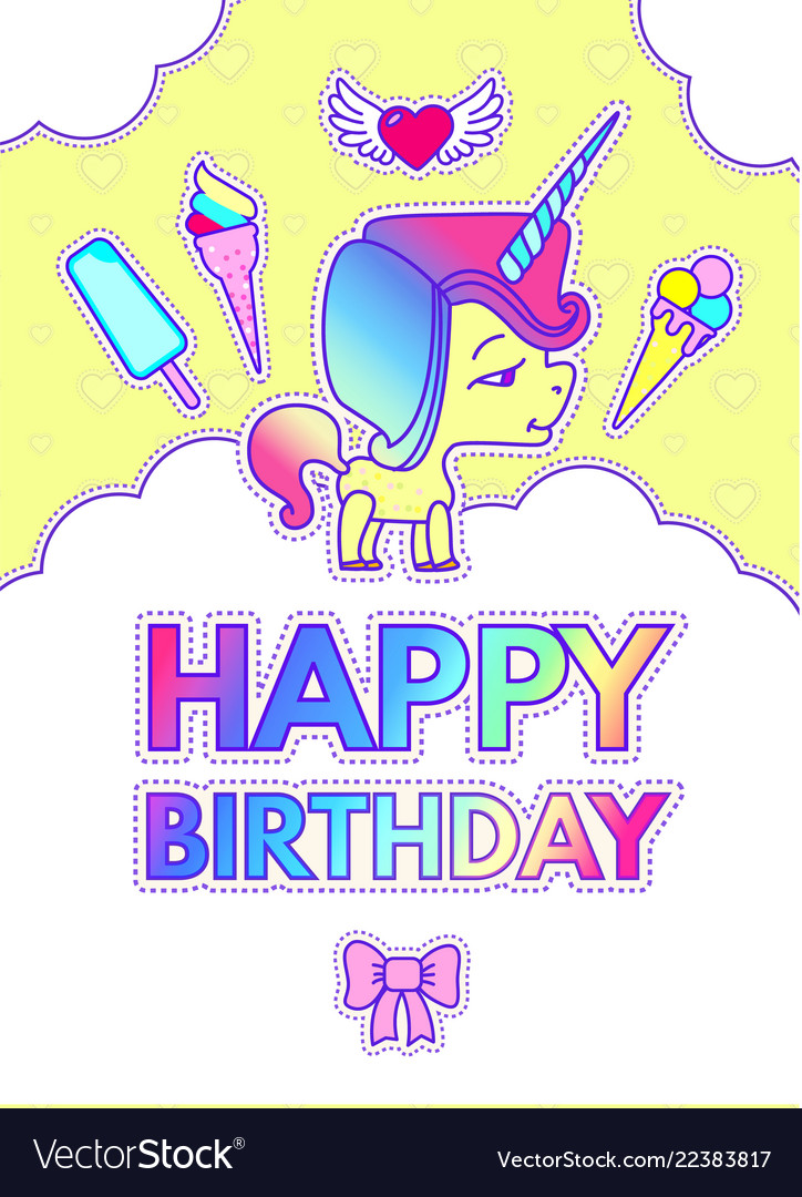 Happy birthday card template with cute magic