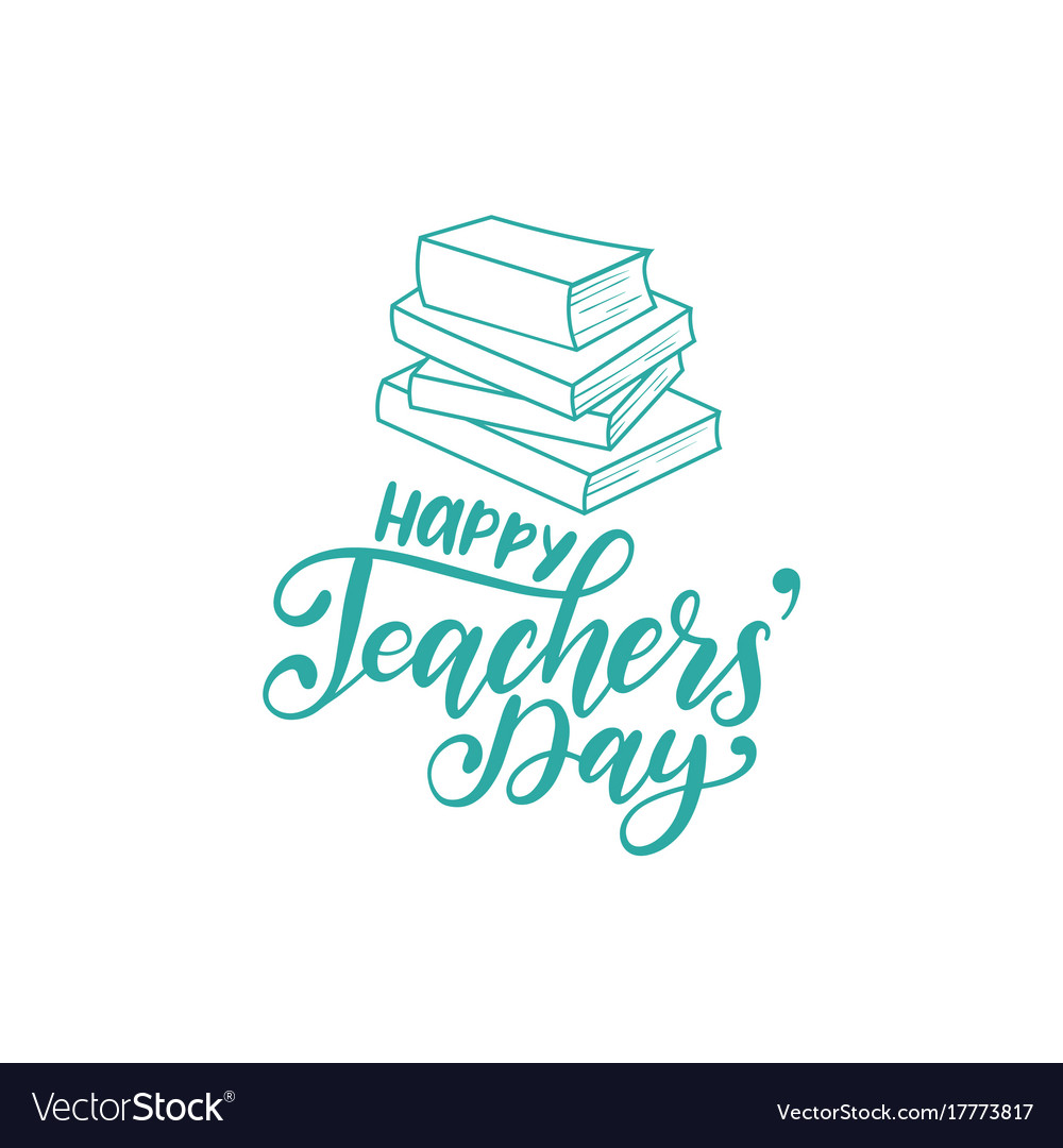 Happy Teachers Day Poster Card Hand Royalty Free Vector