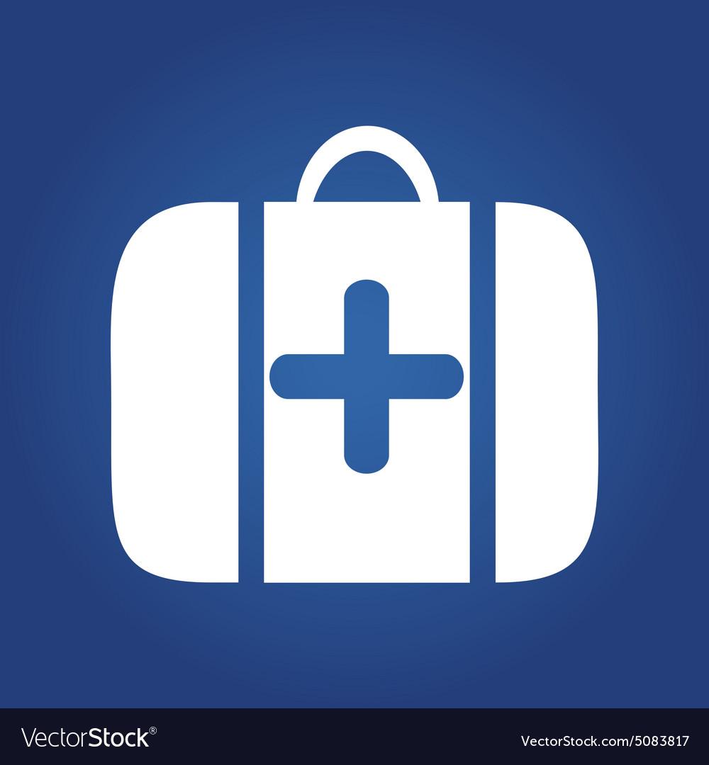 Medical icon on blue background - Medical bag vector image