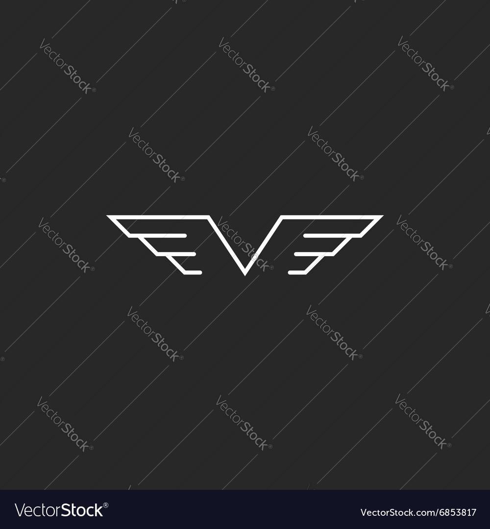 Monogram wings V letter logo mockup creative