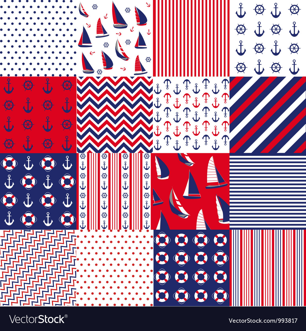 Pattern with nautical elements vector image