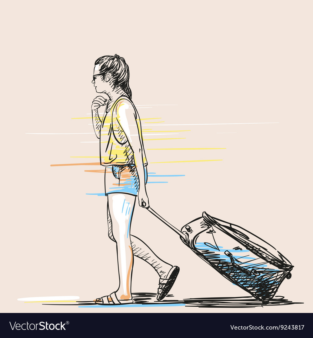 Sketch woman with suitcase hand drawn