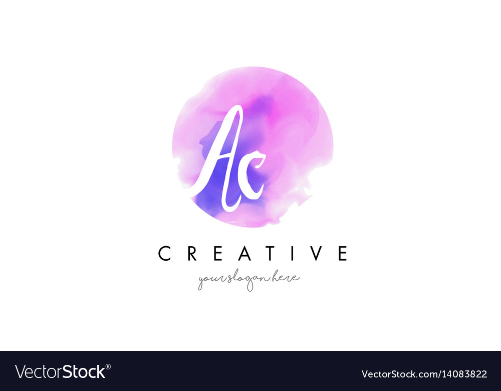 Ac watercolor letter logo design with purple vector image