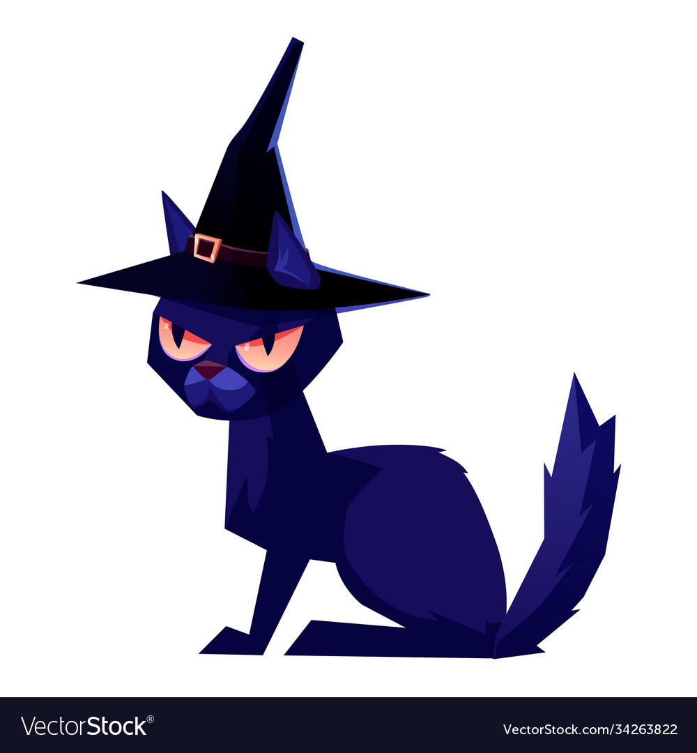 Black cat wearing a witch hat halloween