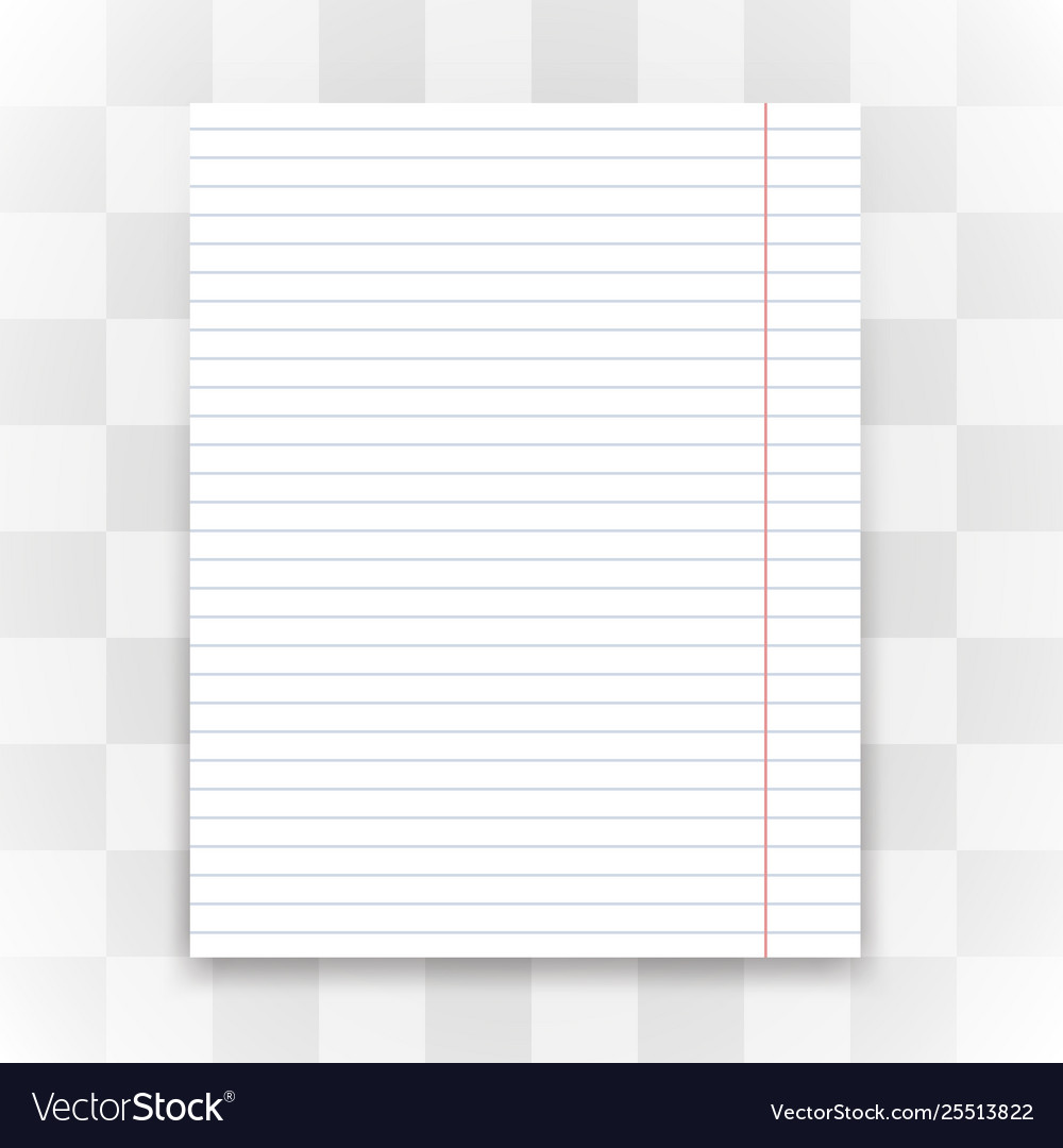 Blank White Lined Paper On Transparent Background