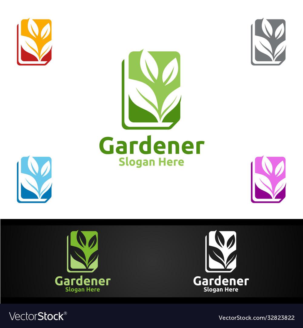 Book gardener logo with green garden environment