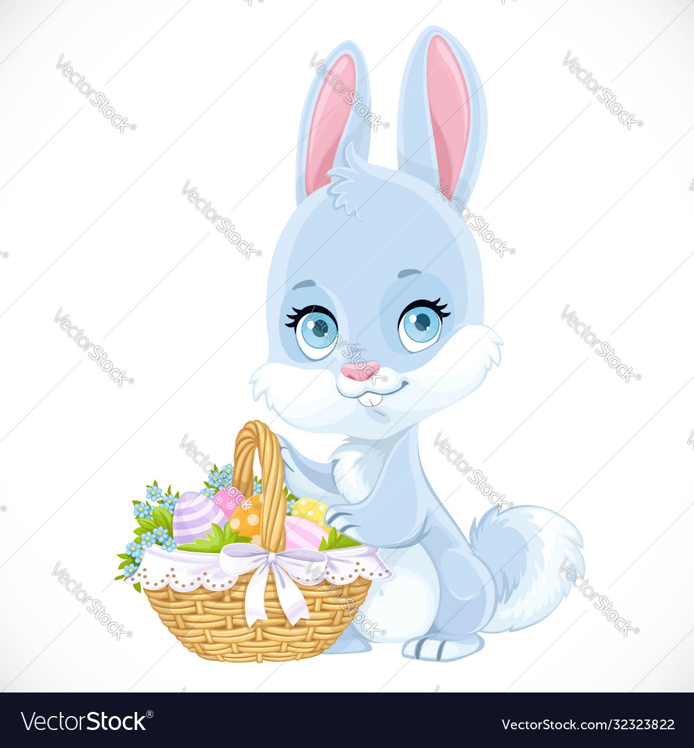 Cute easter babunny with a basket eggs