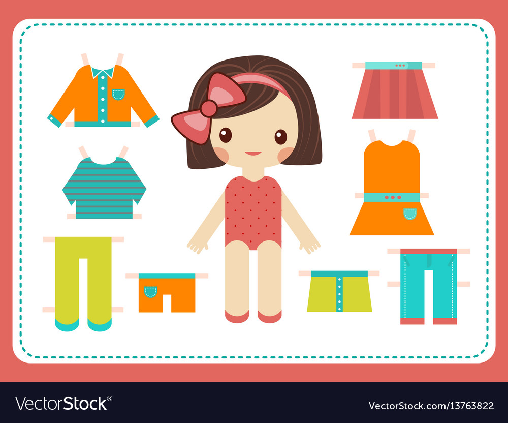 Cute female paper doll with the variety of bright vector image