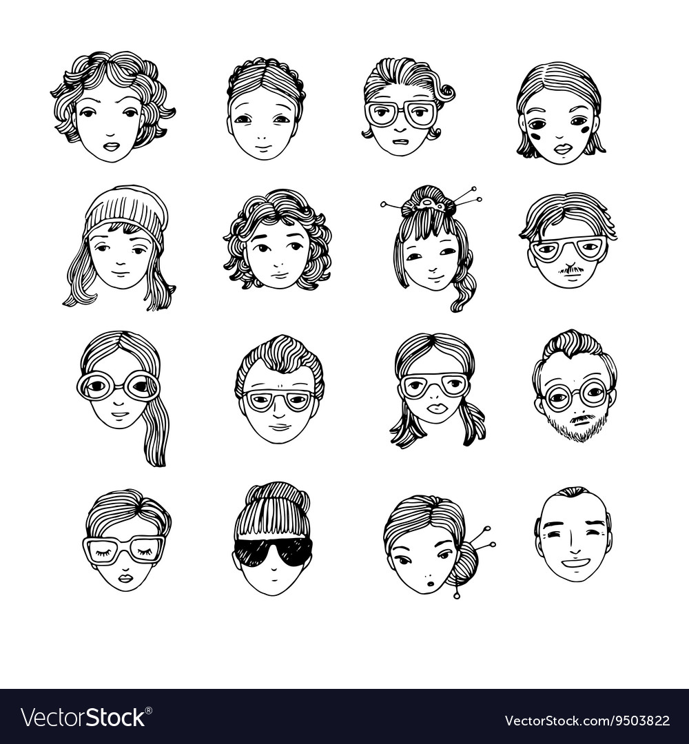 Different faces Hand drawing isolated objects on vector image