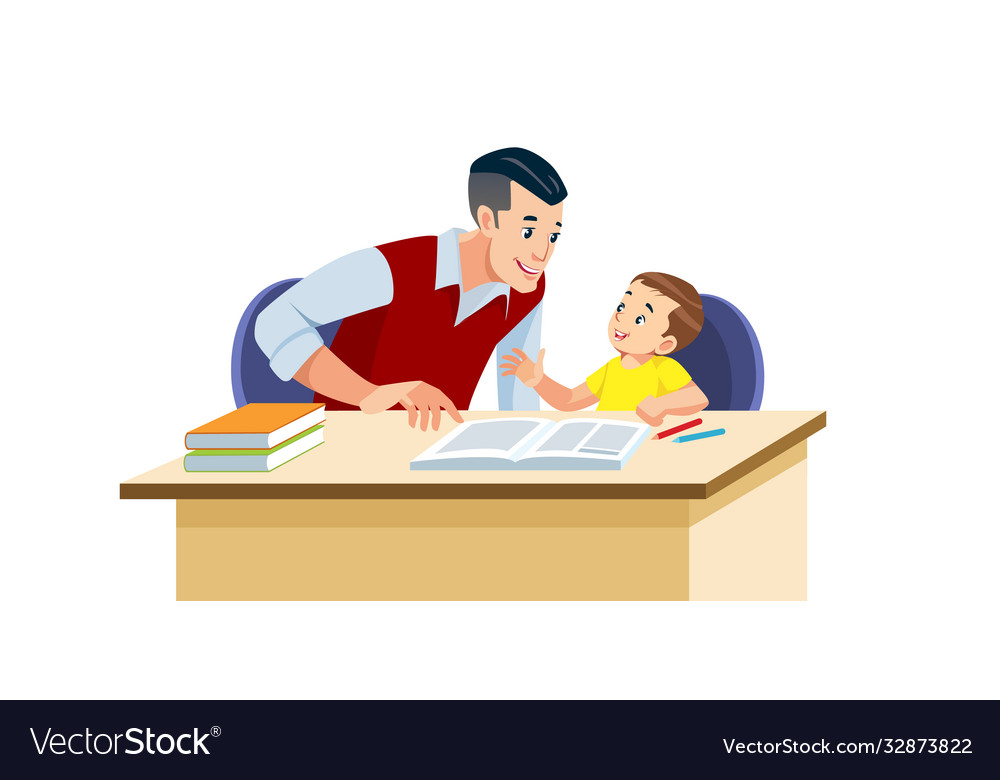 Father helps his son to do homework in school he
