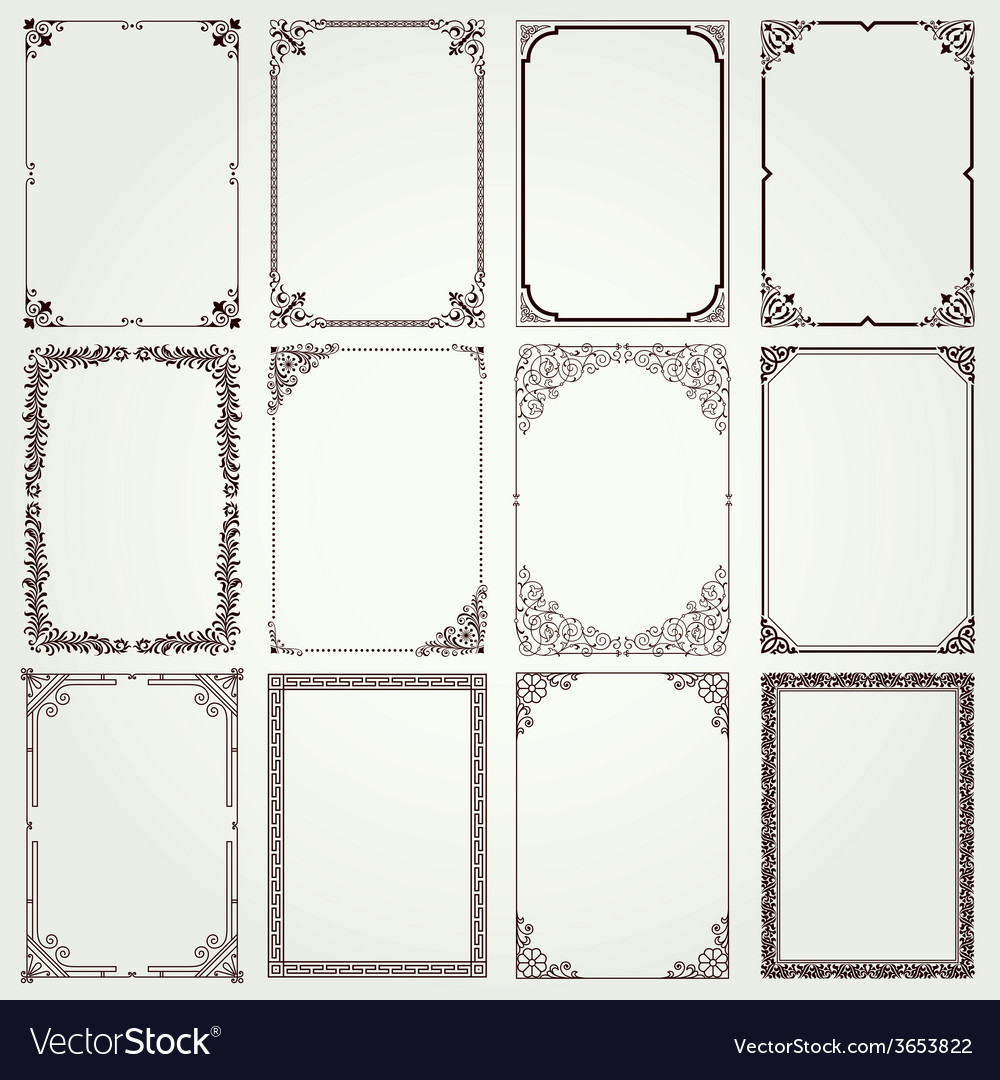 Frames and borders A4 set 4 vector image